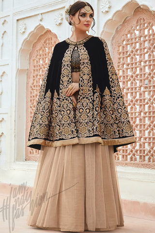 Indi Fashion Black and Beige Micro Velvet Cape Style Lehenga Set