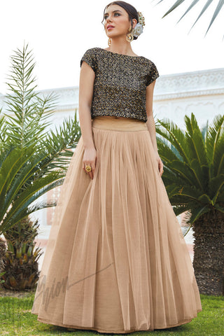 Indi Fashion Black and Beige Micro Velvet Lehenga Set