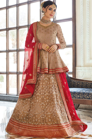 Indi Fashion Beige and Red Net Jacket Style Lehenga Set
