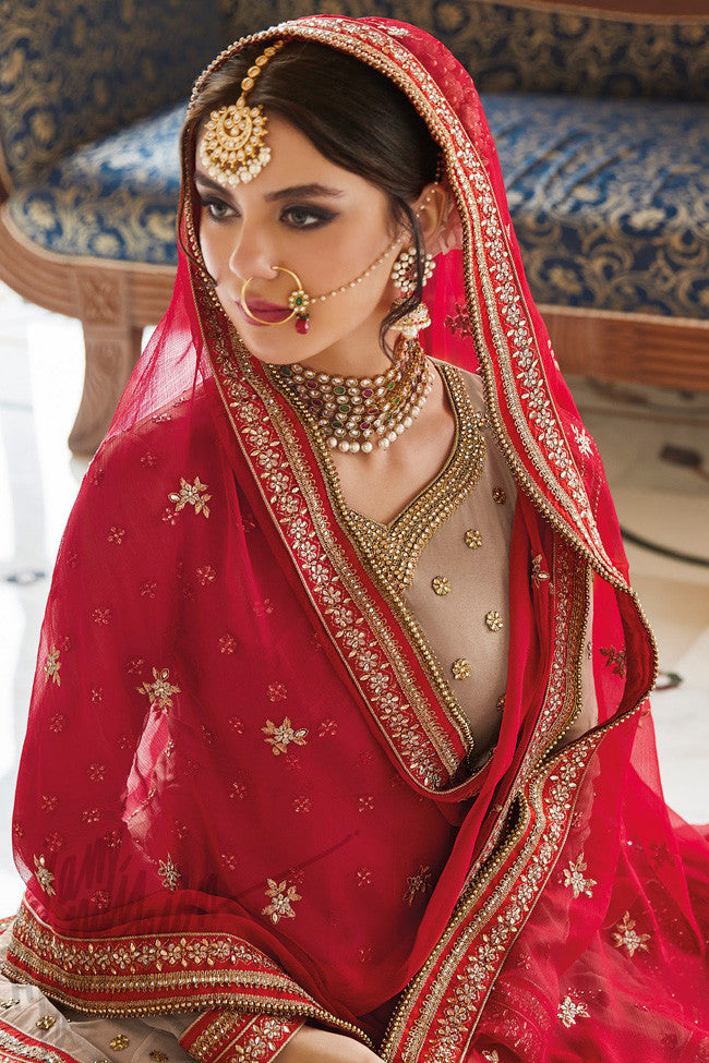 Buy Beige and Red Net Jacket Style Lehenga Set Online at indi.fashion