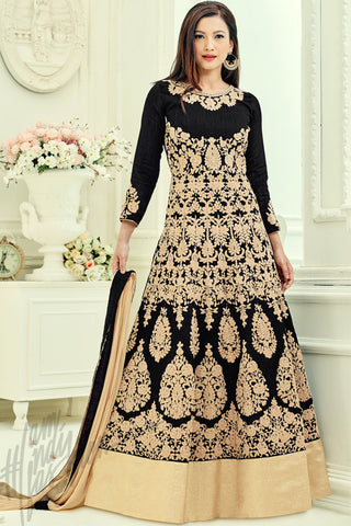 Indi Fashion Black and Beige Georgette Party Wear Floor length Suit
