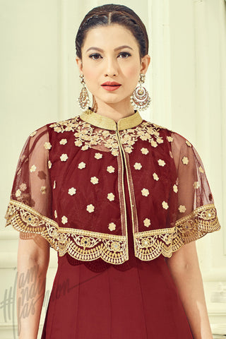Indi Fashion Red and Gold Georgette Party Wear Floor length Suit