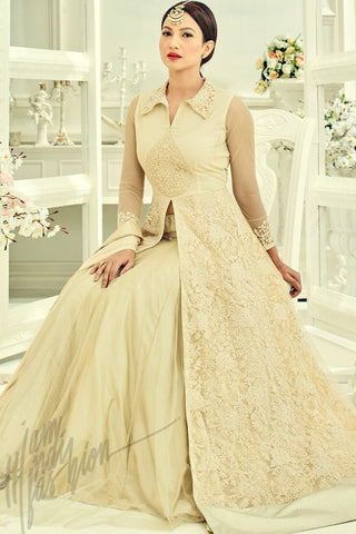 Buy Cream Heavy Net Jacket Style lehenga Online at indi.fashion