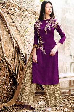 Indi Fashion Wine and Olive Green Georgette Party Wear Suit