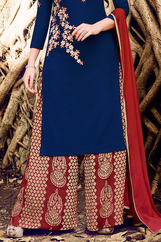Indi Fashion Navy Blue and Red Georgette Party Wear Suit