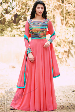 Indi Fashion Pink Georgette Party Wear Suit