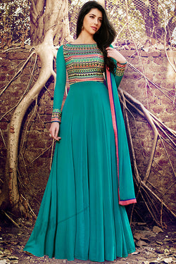 Indi Fashion Rama Green Georgette Party Wear Suit