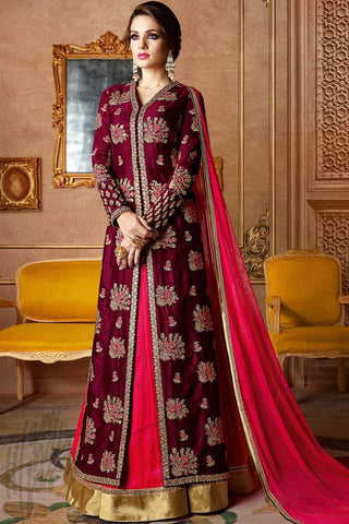Indi Fashion Wine and Fuchsia Pink Georgette and Silk Long Jacket Style Lehenga