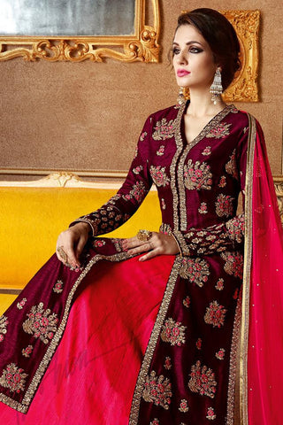 Buy Wine and Fuchsia Pink Georgette and Silk Long Jacket Style Lehenga Online at indi.fashion
