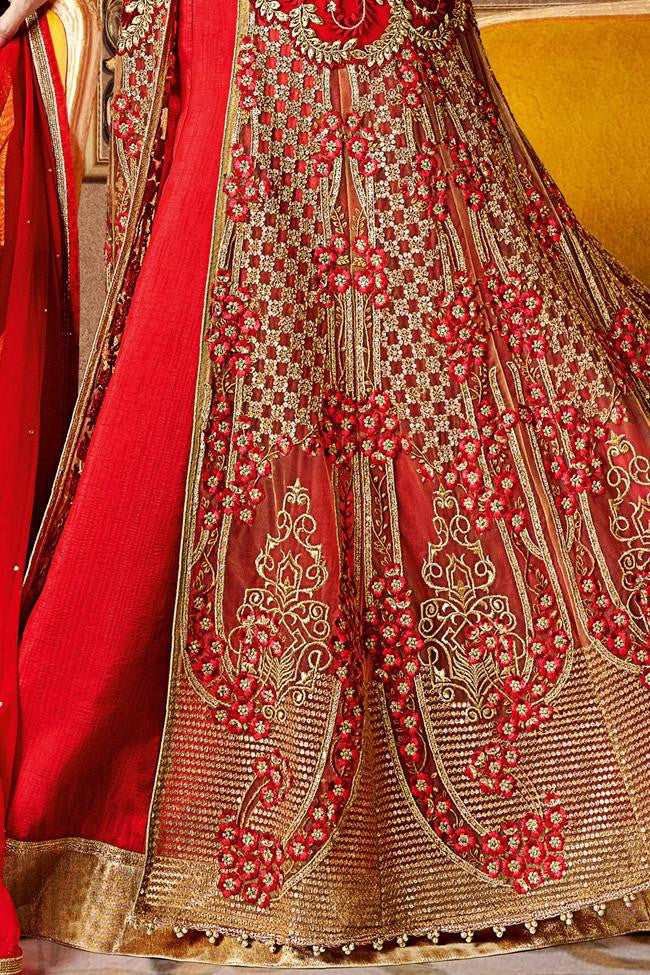 Indi Fashion Red Banarasi Silk and Net Anarkali Suit and Lehenga