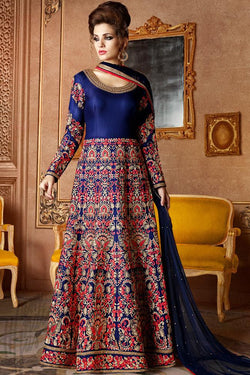 Indi Fashion Blue Mulberry Silk Anarkali Party Wear Suit
