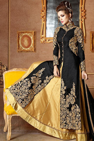 Indi Fashion Black and Gold Mulberry Silk Long Jacket Style Lehenga