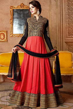 Indi Fashion Black and Red Georgette and Silk Anarkali Party Wear Suit