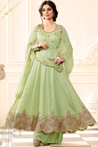 Buy Sea Green Raw Silk Anarkali Suit with Palazzo Pants Online at indi.fashion