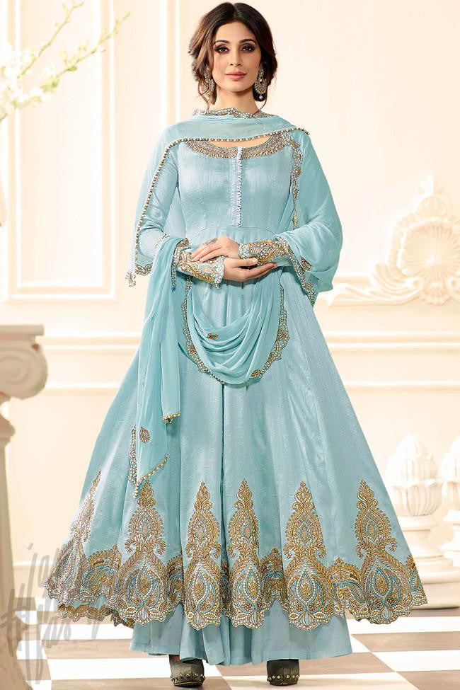 Indi Fashion Sky Blue Raw Silk Anarkali Suit with Palazzo Pants