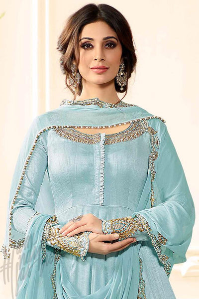 Buy Sky Blue Raw Silk Anarkali Suit with Palazzo Pants Online at indi.fashion
