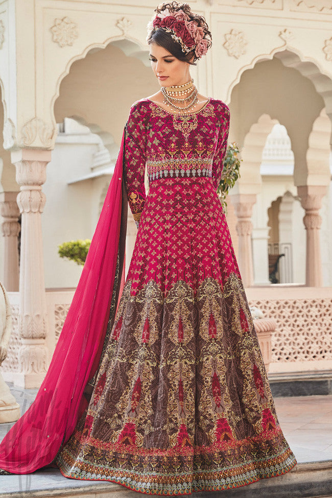 Indi Fashion Rani Pink and Brown Multicolor Crepe Party Wear Floor Length Suit