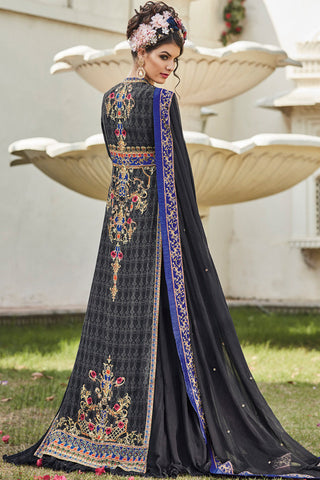 Indi Fashion Black and Blue Multicolor Crepe Party Wear Floor Length Suit