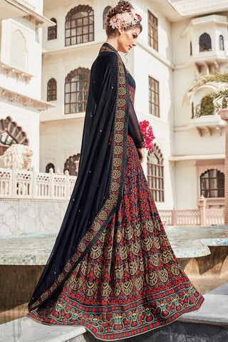 Indi Fashion Black and Red Multicolor Crepe Party Wear Floor Length Suit
