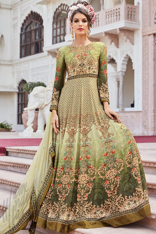 Buy Green Multicolor Crepe Party Wear Floor Length Suit Online at indi.fashion