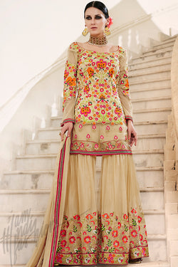 Indi Fashion Beige Bangalori Silk and Net Shararra Suit