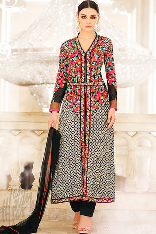 Indi Fashion Black Georgette Long Jacket Style Suit