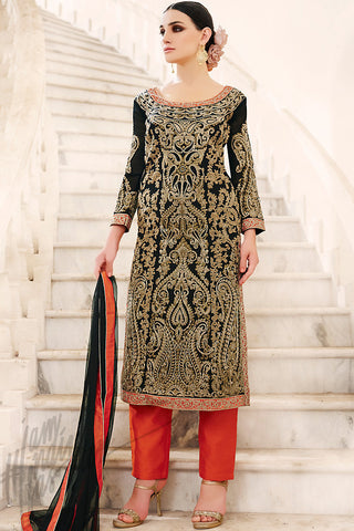 Indi Fashion Black Beige and Red Georgette Palazzo Suit with Pants