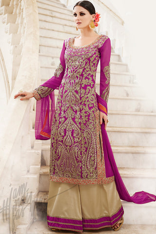 Indi Fashion Magenta Beige and Red Georgette Palazzo Suit with Pants