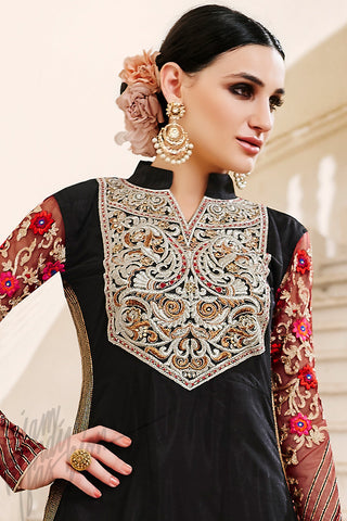 Indi Fashion Black and Maroon Net Long Straight Suit