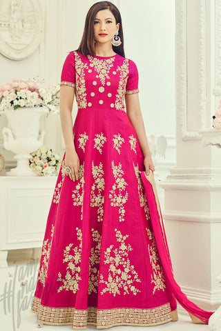 Indi Fashion Pink Two Tone Silk Party Wear Floor Length Suit