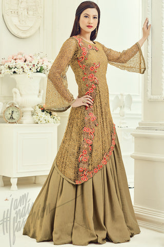 Indi Fashion Beige Net and Silk Party Wear Floor Length Suit