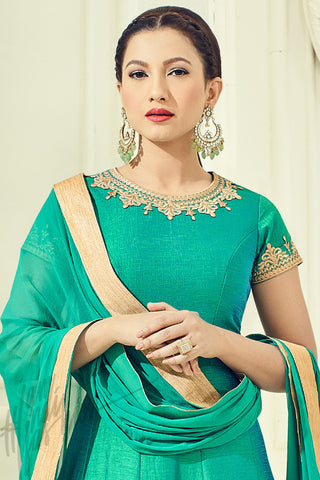 Indi Fashion Green and Gold Tow Tone Silk Party Wear Floor Length Suit