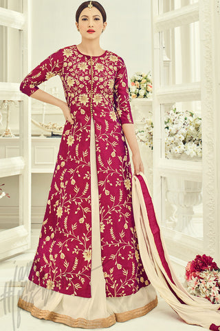 Buy Red Gold and Cream Paper Silk Lehenga Style Suit Online at indi.fashion