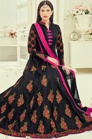 Indi Fashion Black Bangalori Silk Party Wear Floor Length Suit