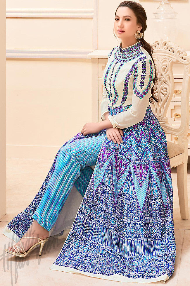 Off White and Blue Bangalori Silk Printed Party Wear Suit