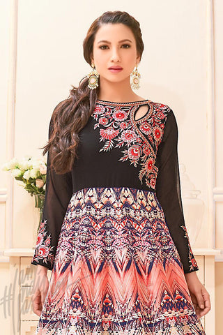 Black and Pink Bangalori Silk Printed Party Wear Suit
