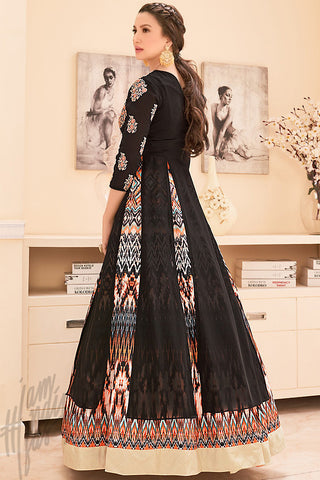 Buy Black and Multicolor Georgette Printed Party Wear Suit Online at indi.fashion