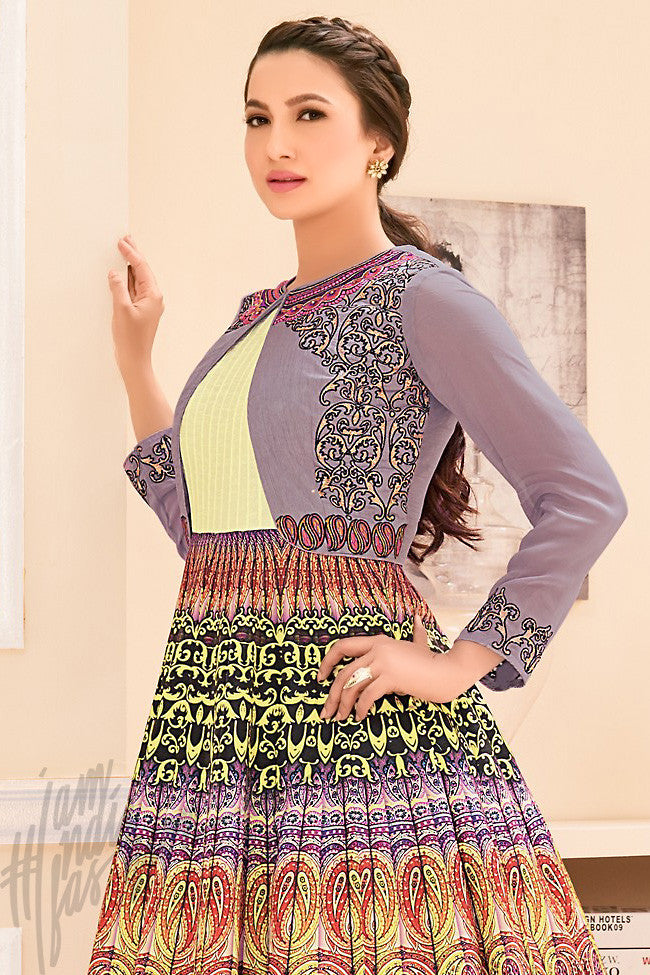 Move and Cream Bangalori Silk Printed Party Wear Suit