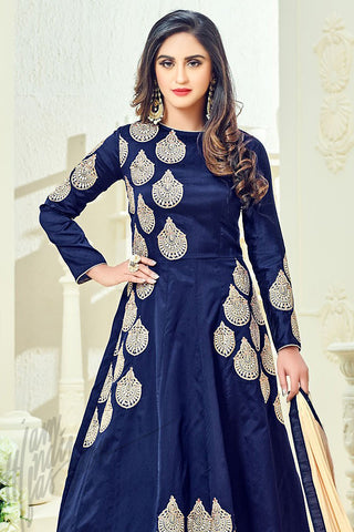Indi Fashion Navy Blue Taffeta Silk Party Wear Floor Length Suit
