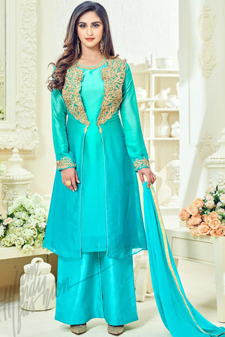 Indi Fashion Light Blue Taffeta Silk Party Wear Floor Length Suit