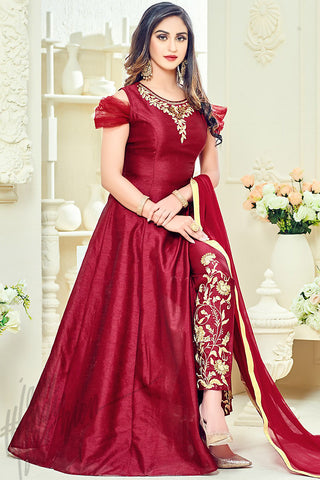 Indi Fashion Maroon Taffeta Silk Party Wear Floor Length Suit