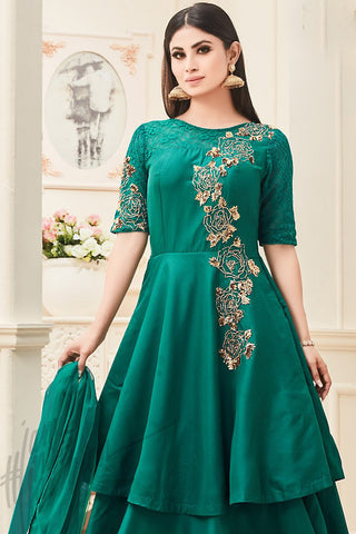 Indi Fashion Green Taffeta Silk Party Wear Floor Length Suit