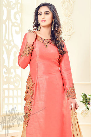 Indi Fashion Peach Taffeta Silk Party Wear Floor Length Suit