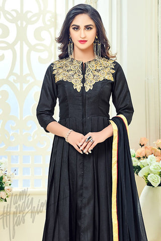 Indi Fashion Black Taffeta Silk Party Wear Floor Length Suit