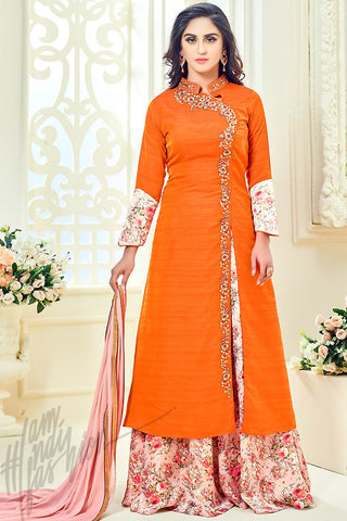 Indi Fashion Orange Taffeta Silk Party Wear Floor Length Suit