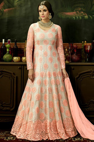 Indi Fashion Pink and White Net Floor Length Party Wear Suit