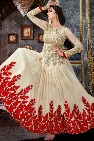 Buy Cream and Red Pure Georgette Floor Length Party Wear Suit Online at indi.fashion