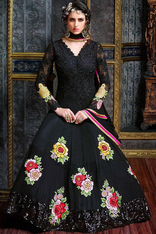 Indi Fashion Midnight Black Pure Georgette Floor Length Party Wear Suit