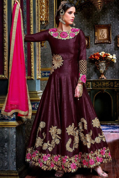 Buy Wine Pure Georgette Floor Length Party Wear Suit Online at indi.fashion