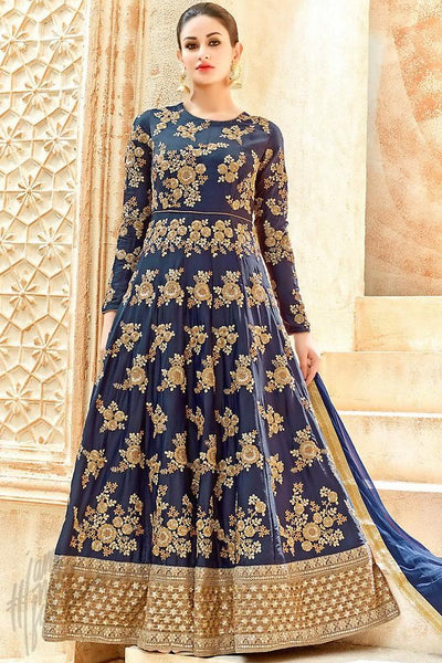 Buy Navy Blue and Gold Georgette Floor Length Party Wear Suit Online at indi.fashion